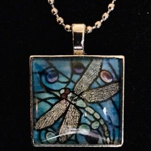 DRAGONFLY BLUE GLASS TILE SILVER TONE / BALL CHAIN